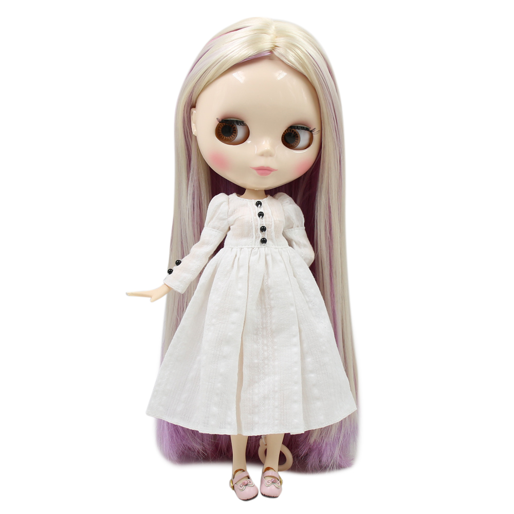 Blyth nude doll 30cm white skin New cute mixed color long hair 1 6 JOINT body