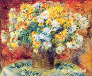 Hand painted art on canvas Chrysan the mums by Renoir Pierre Auguste Renoir paintings for sale High quality