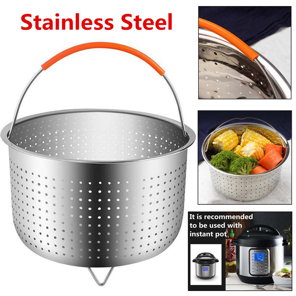Stainless Steel Steamer Rice Cooker Fruits Steamer With Silicone Handle Kitchen Colander Steamer Instant Pot Steam Basket
