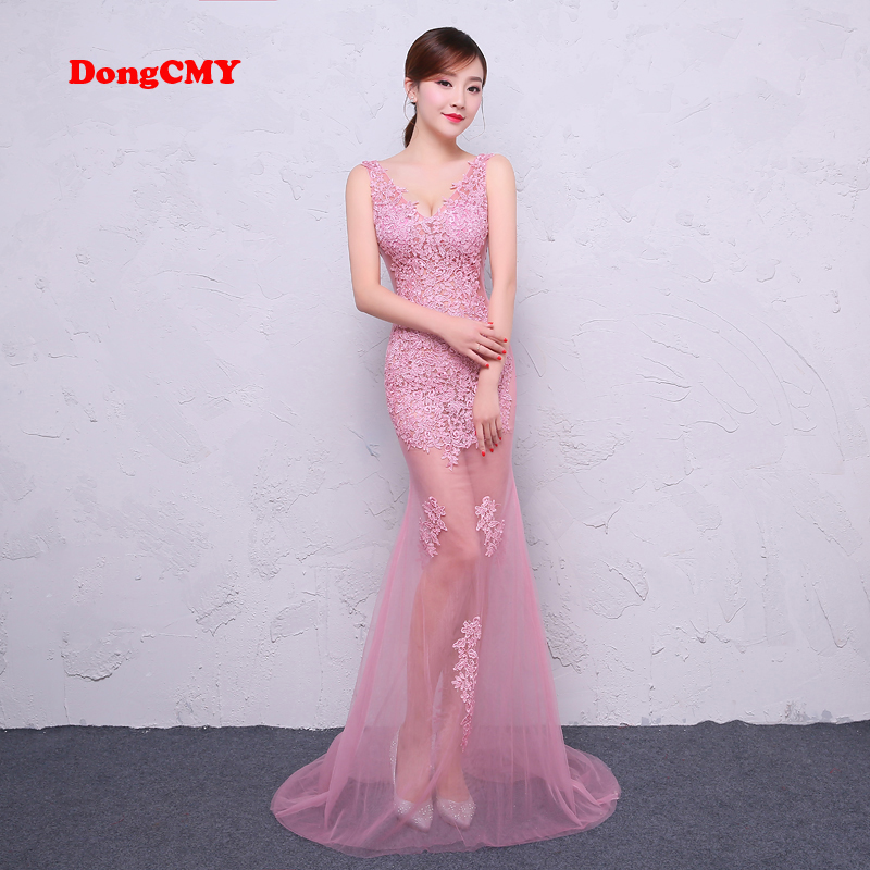 DongCMY 2019 New summer shoulder sexy long Lace Party Prom Formal evening dress