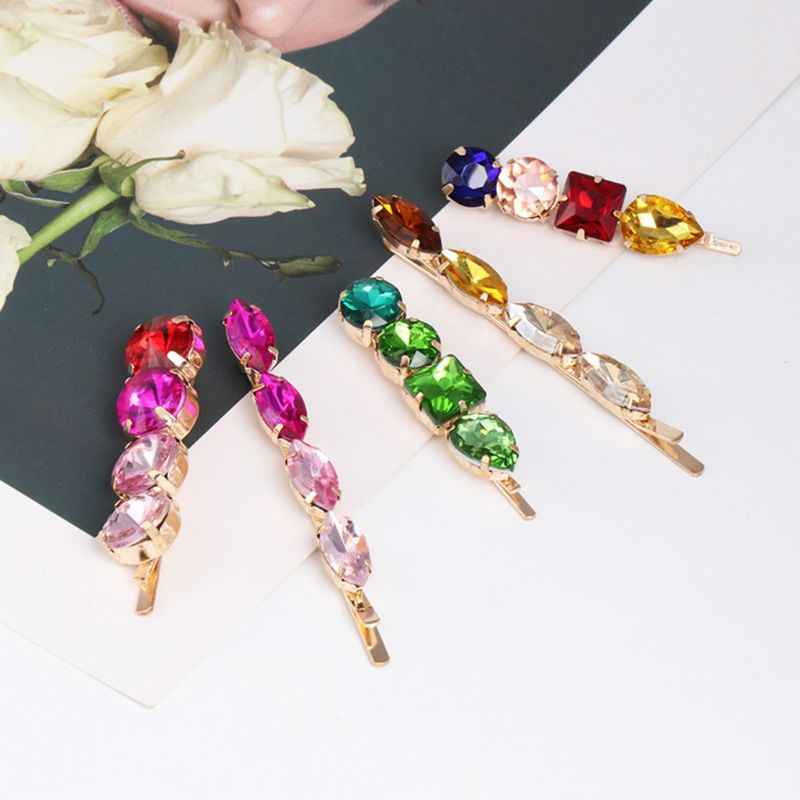 Ladies Luxury Colored Jewelry One Word Hairpin Imitation Diamond Metal Alloy Spring Hairgrip Side Bangs Styling Hair Accessories