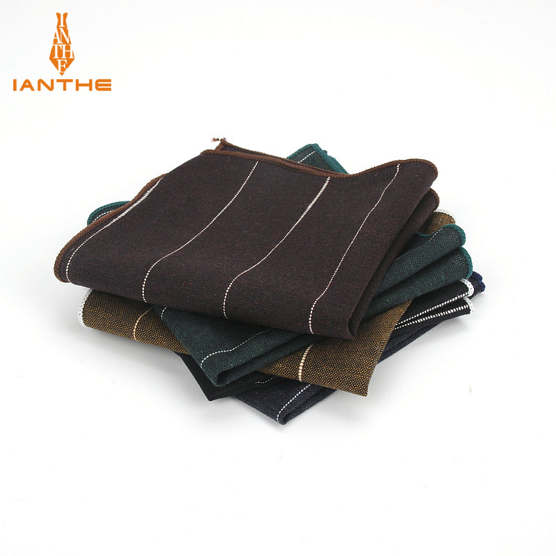 Men Cotton Handkerchiefs Woven Fashion Stripe Pocket Square Mens Casual Wedding Groom Square Pockets Vintage Handkerchief Towels