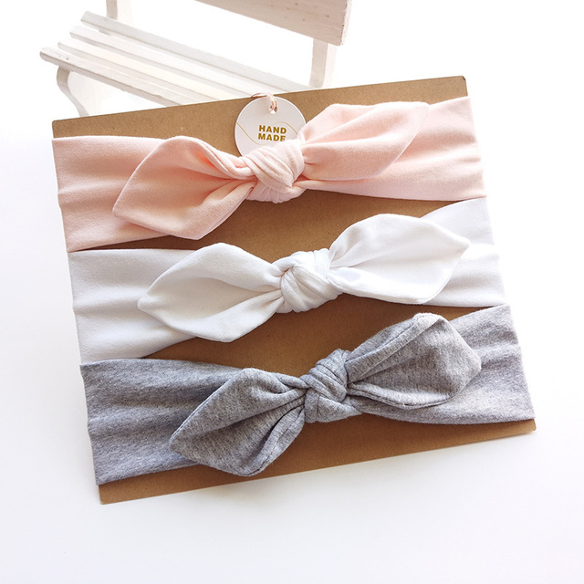 3pcs/set Baby Headband Girls Hair Accessories Cotton Rabbit Ear Turban Bow Elastic Hairband Baby Princess Christmas Day Gifts 3
