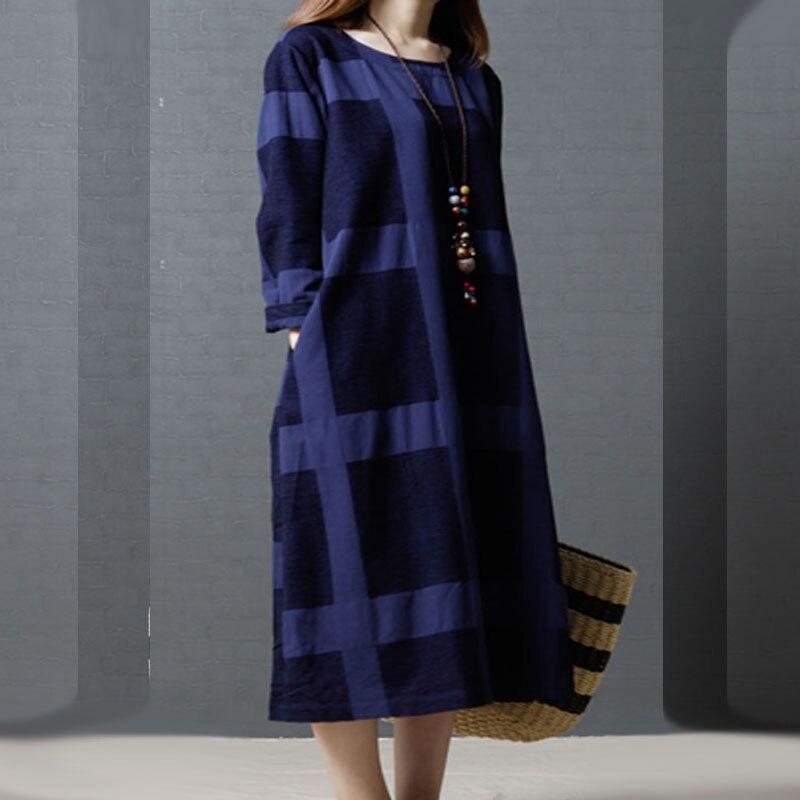 2017 nouvelle mode coton lin automne Robe à carreaux femmes Vintage décontracté rouge Maxi Robe Vestidos soirée robes Robe