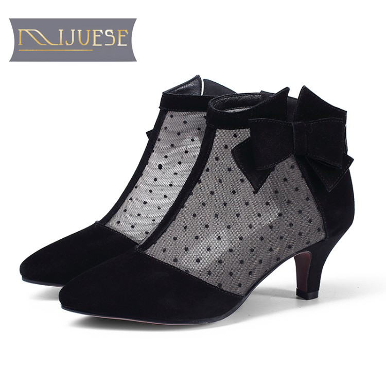 MLJUESE 2018 women boots cow leather+transparent air mesh summer  black color bow pointed toe high heels summer boots size 42MLJUESE 2018 women boots cow leather+transparent air mesh summer  black color bow pointed toe high heels summer boots size 42