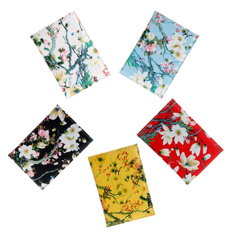 Fashion Travel Passport Cover For Women Pu Leather Passport Holder Wallet Floral Print Passport Case Bag