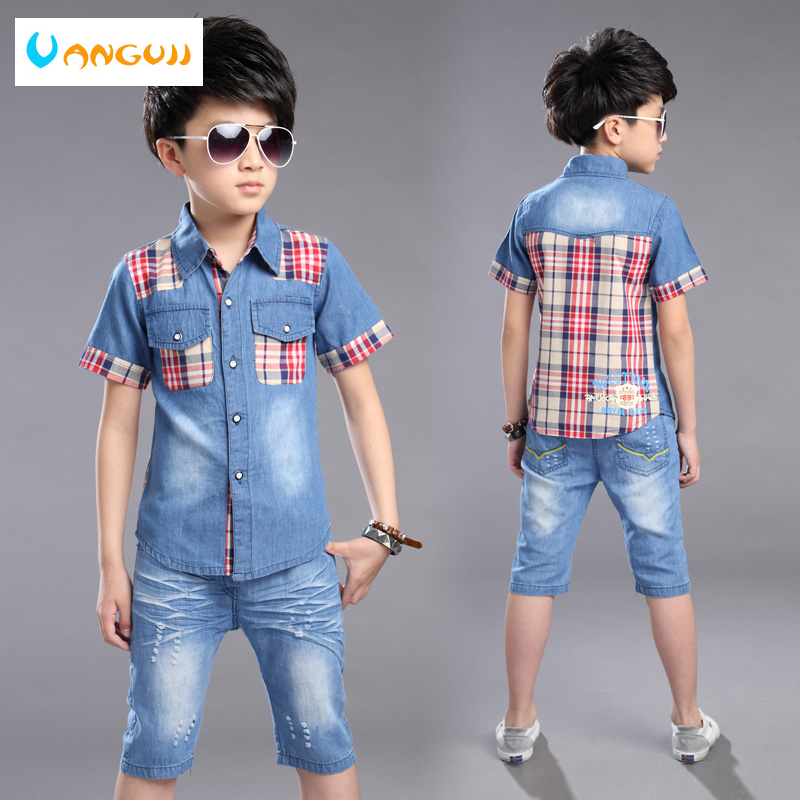 Мальчиков весенние комплекты 2-Piece-наборы для детей От 4 до 13 лет короткий рукав рубашка + джинсовые шорты хит цвет poc для мальчиков плед шить р...