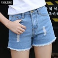 Fashion Short Jeans 2016 Summer Women High Waist Denim Shorts Frayed Hole Female Super Cool Flash Shorts Pantalon Femme