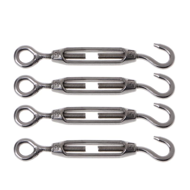 4PCS 304 Stainless Steel M4 Hook & Eye Turnbuckle Light Duty Wire Rope Tension Chongxingdingjia153