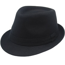 4121a04f5e7e5 Moda lana hombres mujeres negro gris Fedora sombrero para hombre señora lana  ancha boim Jazz Iglesia