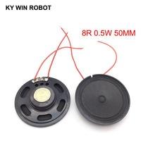 2pcs/lot New Ultra-thin Toy-car horn 8 ohms 0.5 watt 0.5W 8R speaker Diameter 50MM 5CM With Wire