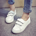women fashion black and white color magic hook shoes summer white teenager girl pu leather shoes casual round toe student flats