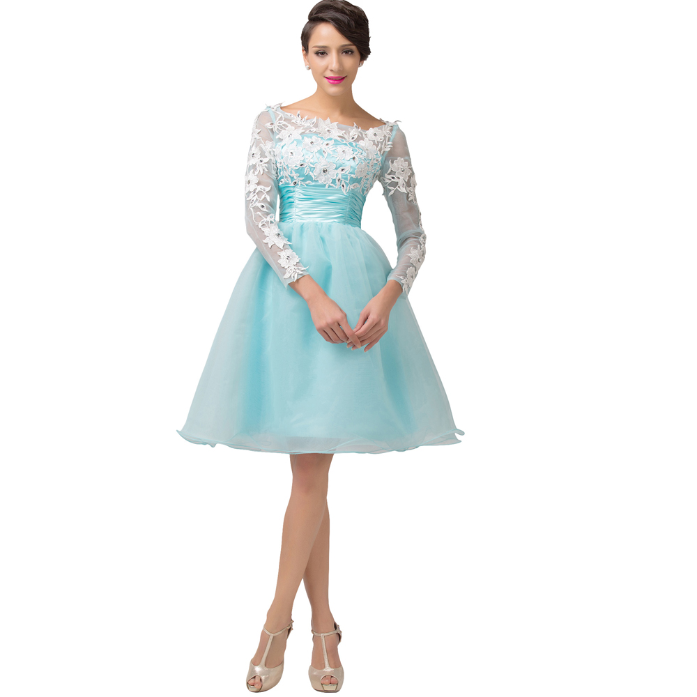 Organza Women Round Neck Long Sleeve Cocktail Dress 2017 New Arrival ...