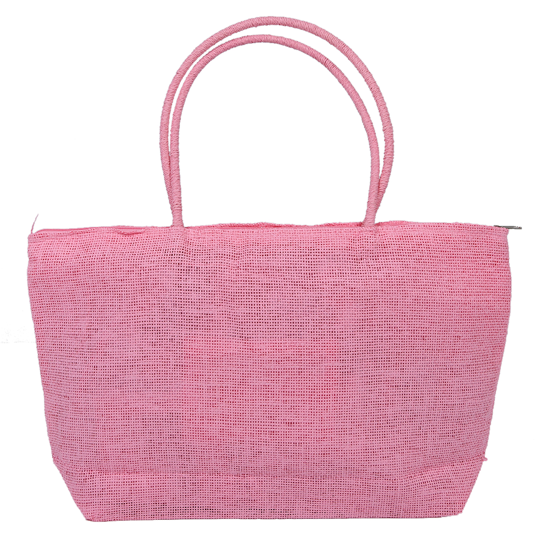 Fashion Ladies Woven Weave Straw Summer Tote Shoulder Bag Beach Shopping Handbag - Pink