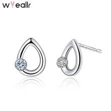 New Arrival Hollow Water Drop Shape 925 Sterling Silver Charm Zircon Stud Earring For Women Gift Creative Ear Accessories WSE162