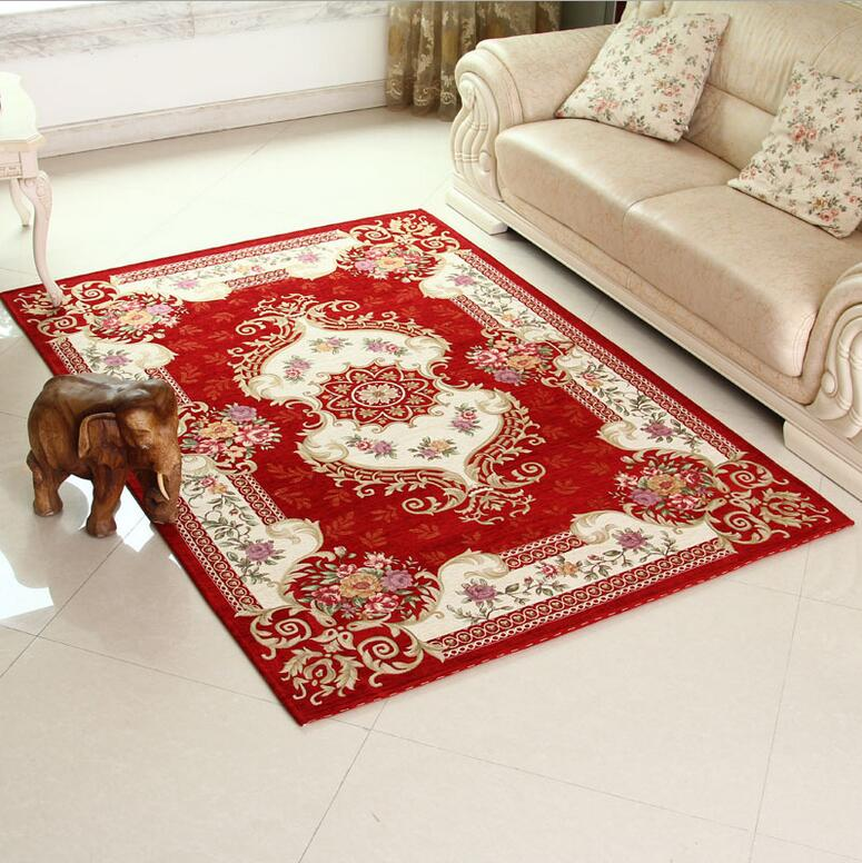 Classical red carpet area rug for living room large size for Largest area rug size