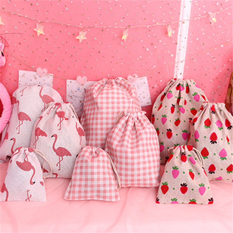 1PC Handmade Drawstring Bag Flamingo Strawberry Pattern Cotton Linen Storage Package Bag  Travel Women Small Cloth Bag Pouch