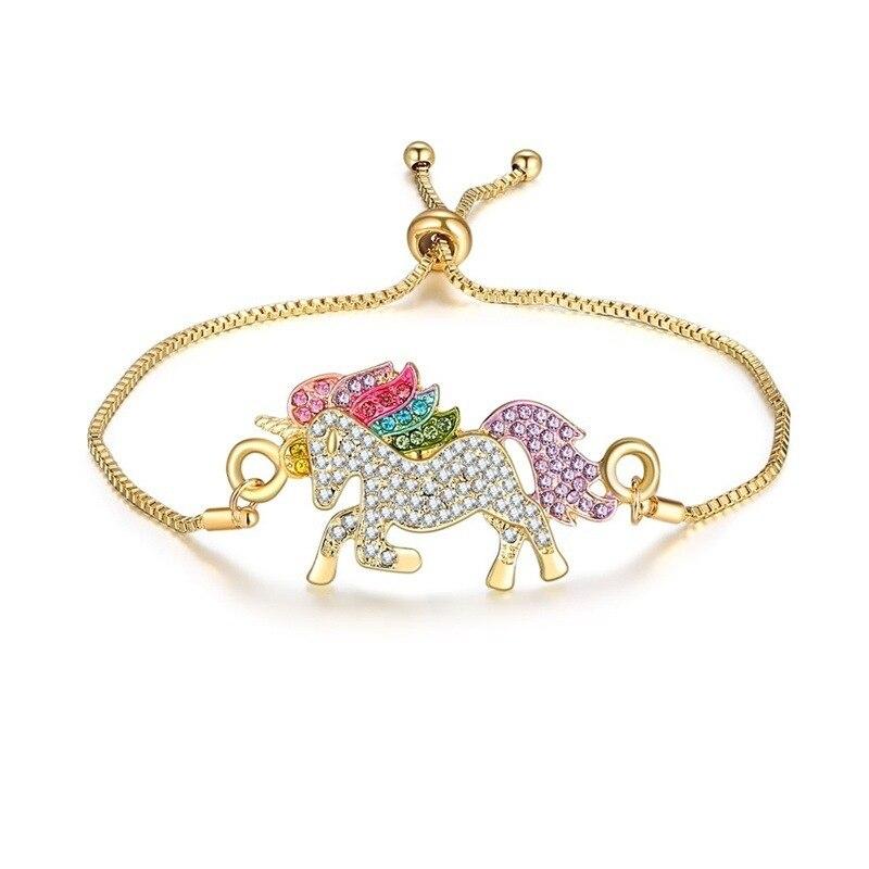 Милое ожерелье с единорогами, модные украшения в виде лошади из мультфильма, аксессуары для девочек, детские, женские вечерние браслеты с подвеской в виде животного - Окраска металла: Bracelet Gold