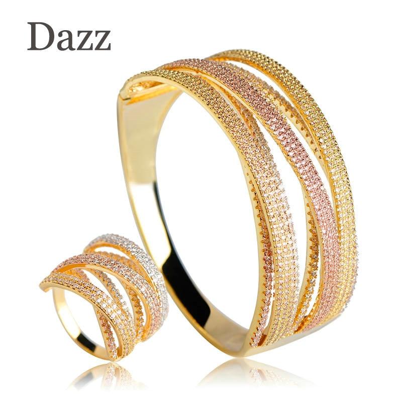 все цены на Dazz 2018 Luxury Three Tones Colors Wide Bangle Ring Set Two Layers Copper Rhinestones Jewelry Sets Women Bridal Wedding Bijoux онлайн