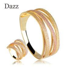 Dazz 2019 Luxury Three Tones Colors Wide Bangle Ring Set Two Layers Copper Rhinestones Jewelry Sets Women Bridal Wedding Bijoux