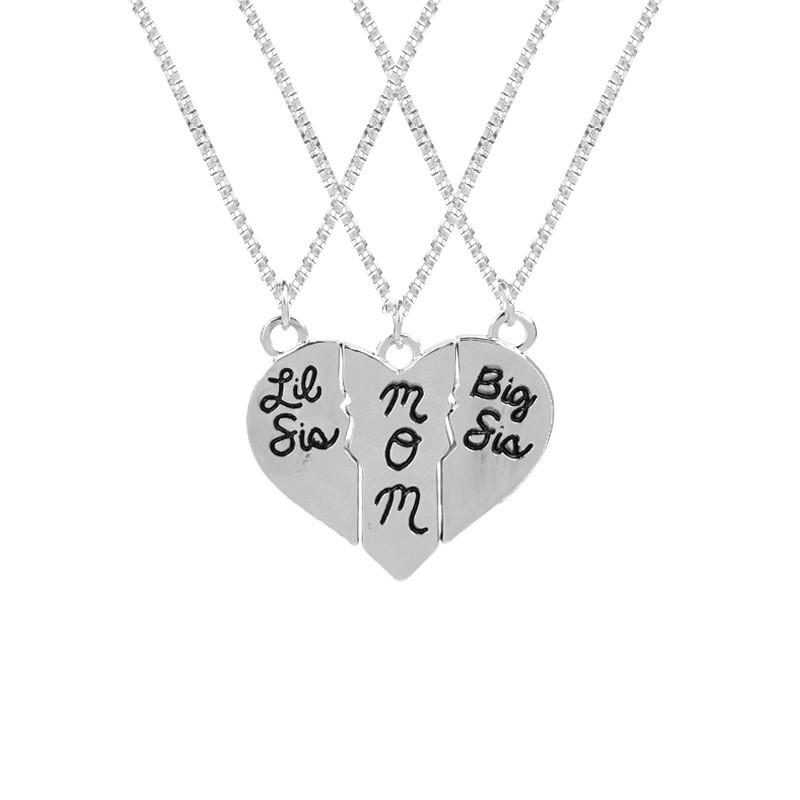 3 Pcs Mom Big Sis Little Sis Puzzle Necklace Broken Heart Pendant Women Choker Necklace Mother Daughter Flower Girl Jewelry Gift