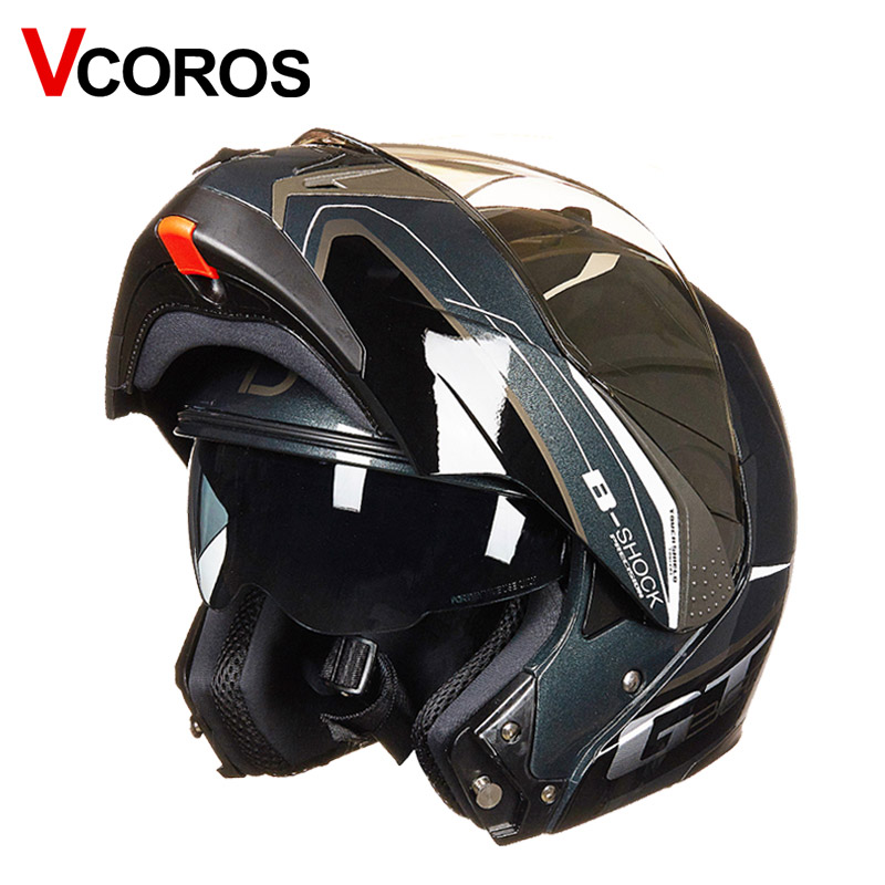 New Vcoros dual shield motorcycle helmet high quality flip up moto helmet ECE europe full face racing modular motorbike helmets red green lines double lens motorcycle crash helmet high quality flip up electric motorbike full face motorcycle helmet