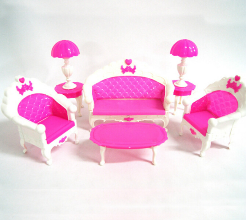 Girl Birthday Gift Plastic Vintage Sofa Couch Desk Lamp 6 Items/Set  Accessories For Barbie - Online Get Cheap Barbie Living Room Furniture Set -Aliexpress.com