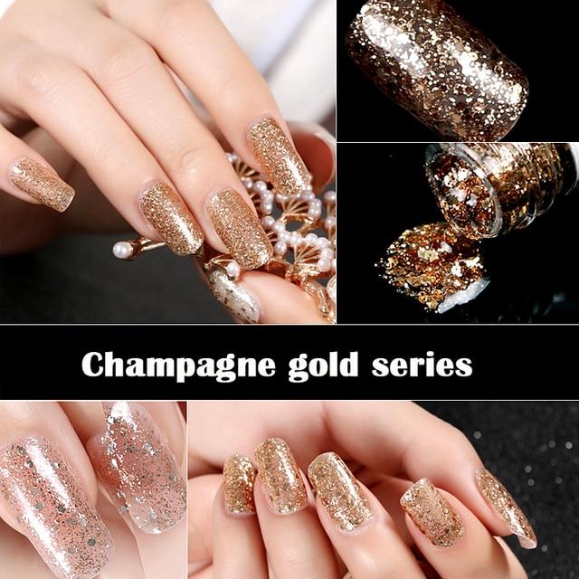New Nails Art Long Lasting Champagne Gold Nail Polish UV Nails ...