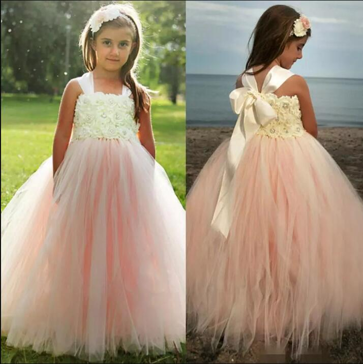 купить 2017 Tutu Flower Girls Dresses For Weddings Lace Hot Pink Tulle Beads Ball Gowns Kids Little Girl Pageant Dress дешево