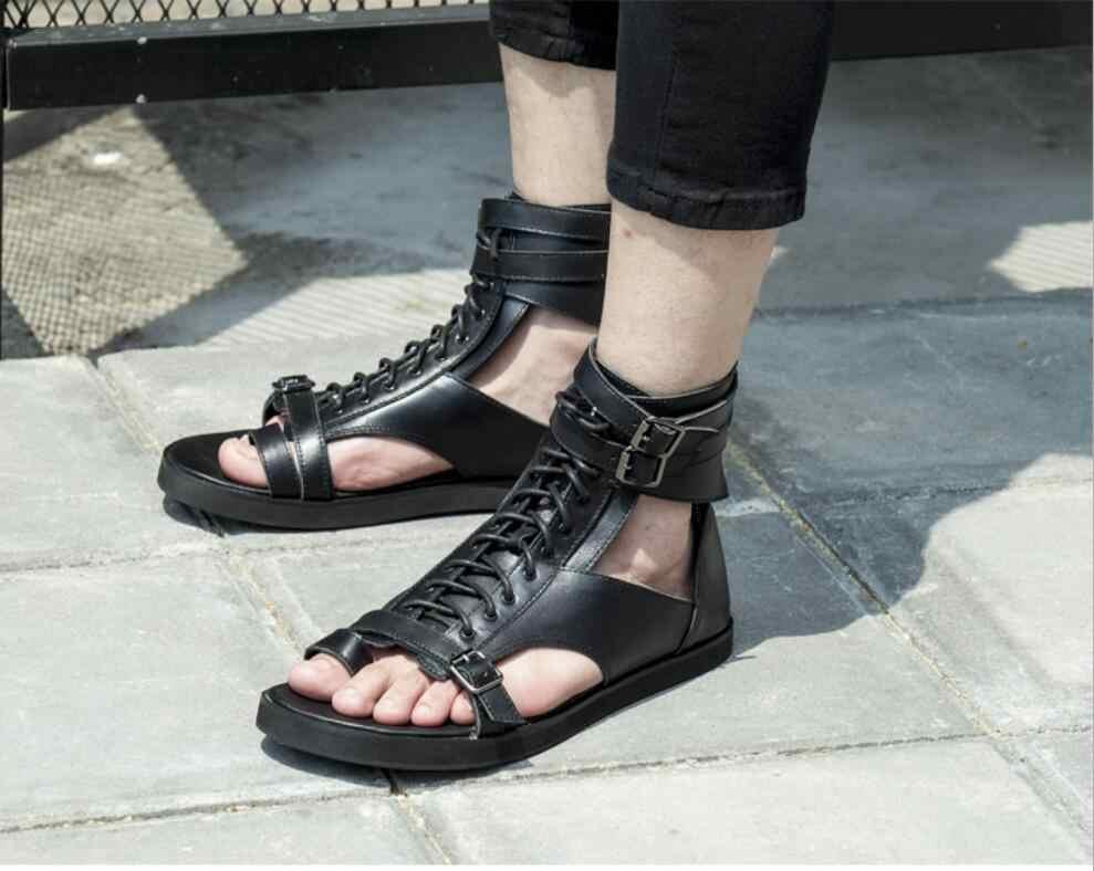 a9e173df5c5 KWOK Fashion Summer Sandals Men Genuine Leather Casual Flat Shoes Gladiator  Sandals Black Mens ...