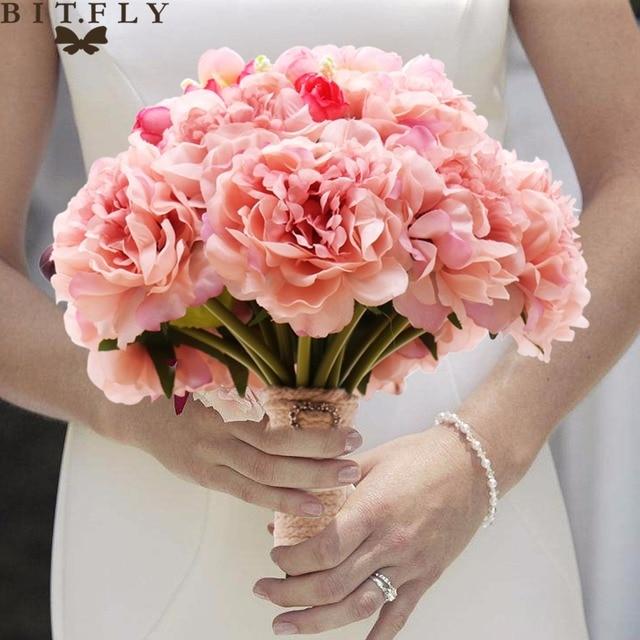 Handmade Artificial Silk Flowers Bride Holding Wedding Peony Bouquet Bridal Bouquets