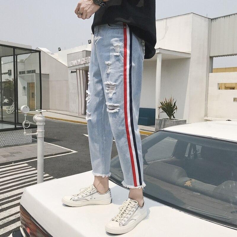 2018 Men Fashion Classic Style Blue Stretch Weave Bring Decorate Holes   Jeans   Casual Pants Brand Biker Denim Trousers Size S-2XL