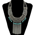Boho Fashion Retro Silver Statement Necklace Carved Hollow Out Flowers Beaded Long Tassel Chains Choker Necklaces Women Jewelry