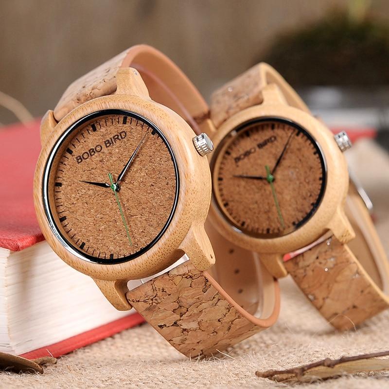 BOBO BIRD Couple Watch Men Bamboo Quartz Wristwatches Wooden Wood Watches For Women Gift Relogio Masculino