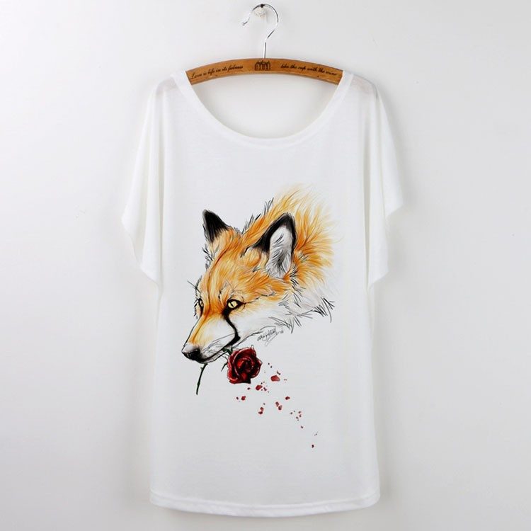 HTB16i2pHVXXXXaZaXXXq6xXFXXXO - Cute Fox Short Sleeve White T Shirt Camiseta Feminina Tee