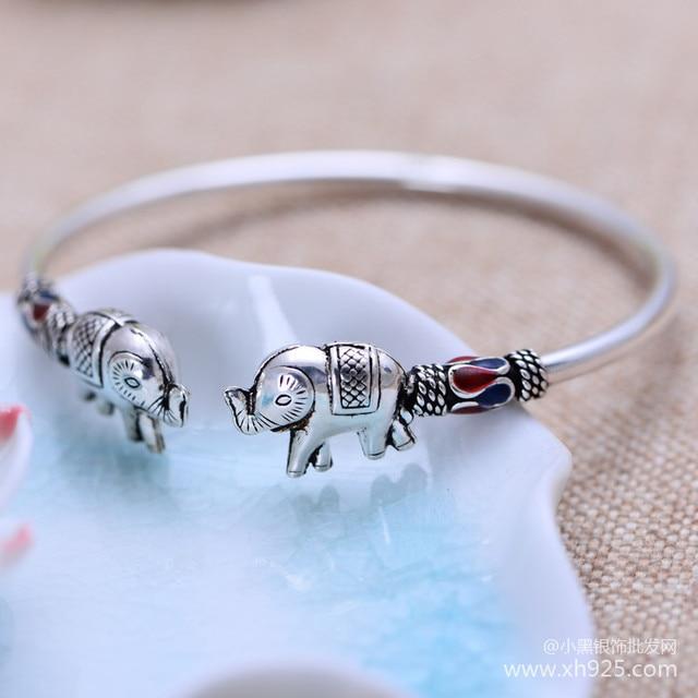 Black silver jewelry wholesale 925 sterling silver jewelry Cloisonne Lucky Elephant Bracelet xh052829w