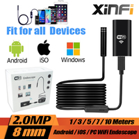 IOS Android Wifi Endoscope 1 3 5 7 10m Soft Cable 8mm HD 720P Borescope Pipe