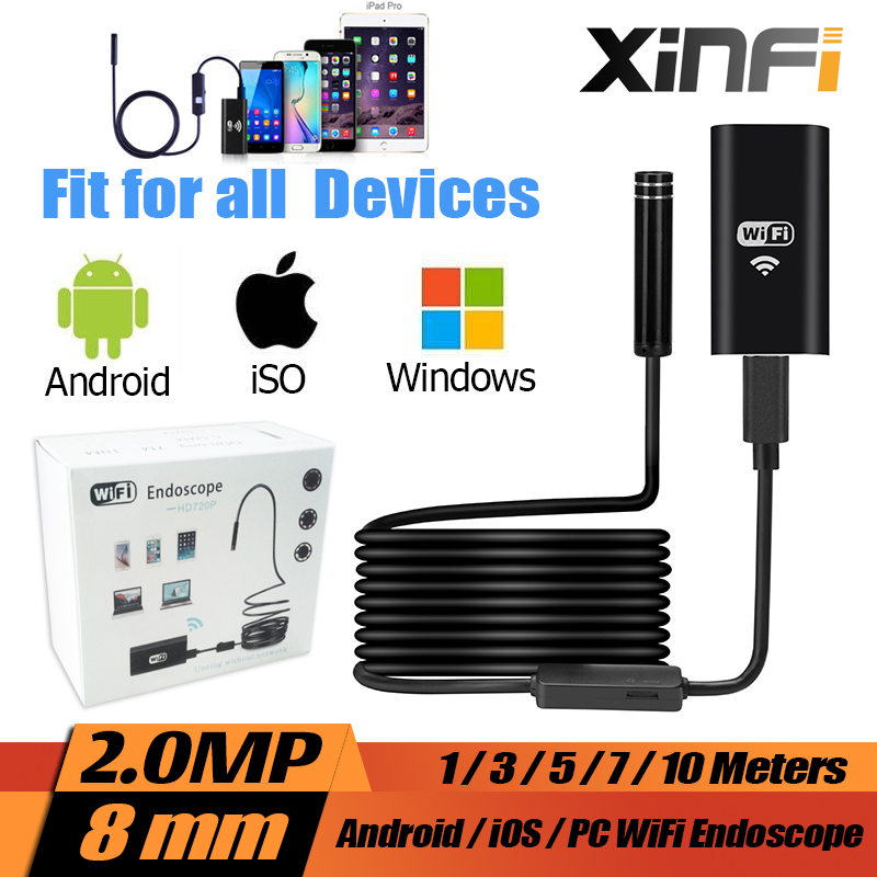 XINFICAM Wifi Endoscope iOS Android 1/3/5/7/10m Soft cable 8mm HD 720P Borescope pipe mini camera Snake Camera car inspection eyoyo nts200 endoscope inspection camera with 3 5 inch lcd monitor 8 2mm diameter 2 meters tube borescope zoom rotate flip