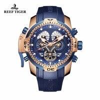 Recife Tigre/RT Militar Relógios para Homens em Ouro Rosa Mostrador Azul Relógio Grande Mostrador do Relógio Calendário Perpétuo Relógios Automáticos RGA3503