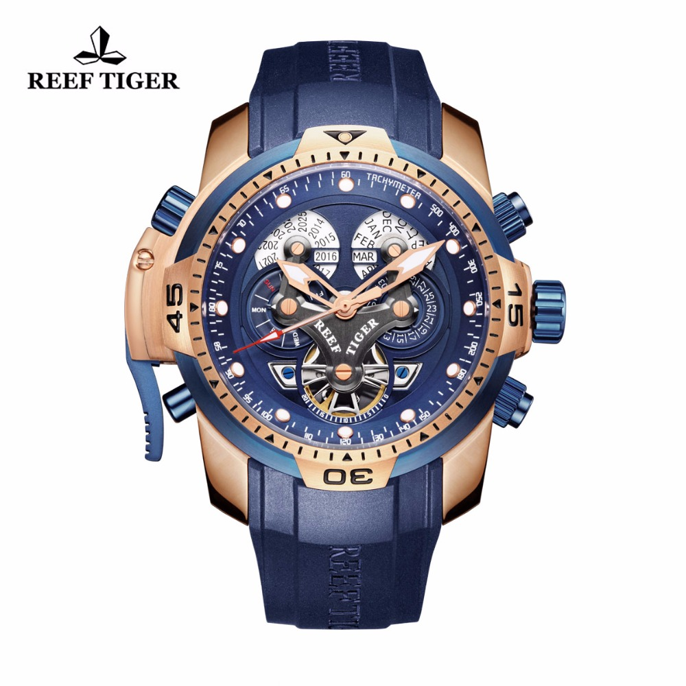 Reef Tiger/RT Military Watches for Men Rose Gold Blue Dial Watch Big Dial Perpetual Calendar Automatic Watches RGA3503