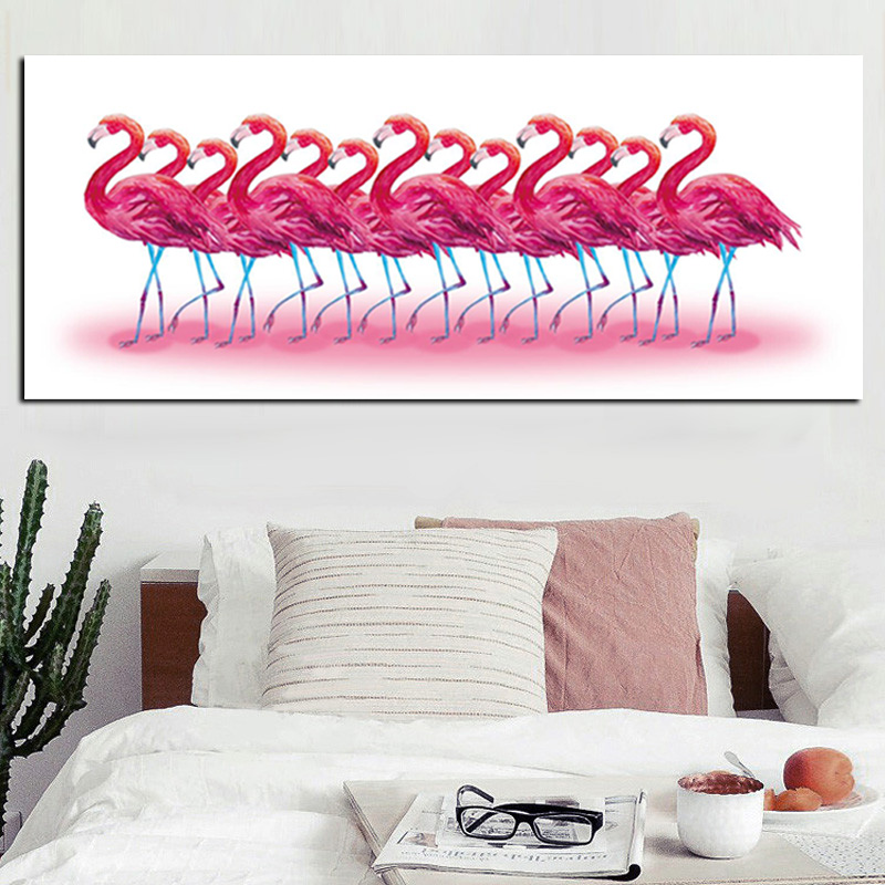 HD Print Abstract Pink Flamingos Tropical Jungle Bird Tropical Oil ...