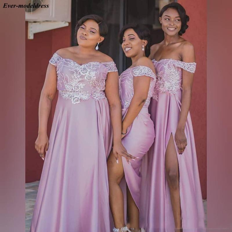Pink   Bridesmaid     Dresses   Long A-Line Off Shoulder Zipper Back Lace Appliques Side Split Wedding Guest Party   Dresses   Prom Gowns
