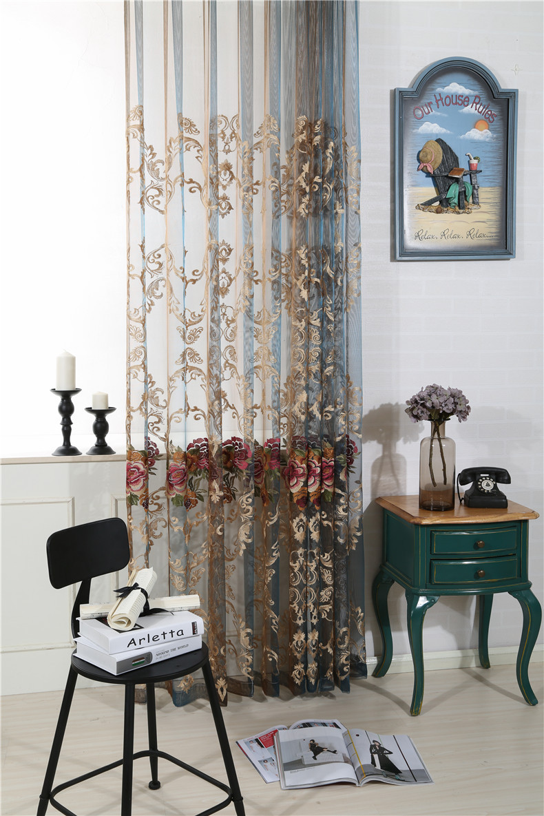 European Embroidery Home Decoration Modern Curtain Tulle