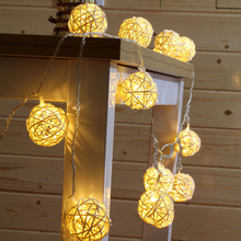 5M 20LED 4cm Rattan Ball LED String Lighting Batteridrevne Julelys For Bryllupsfest Hjem Garland Table Decoration