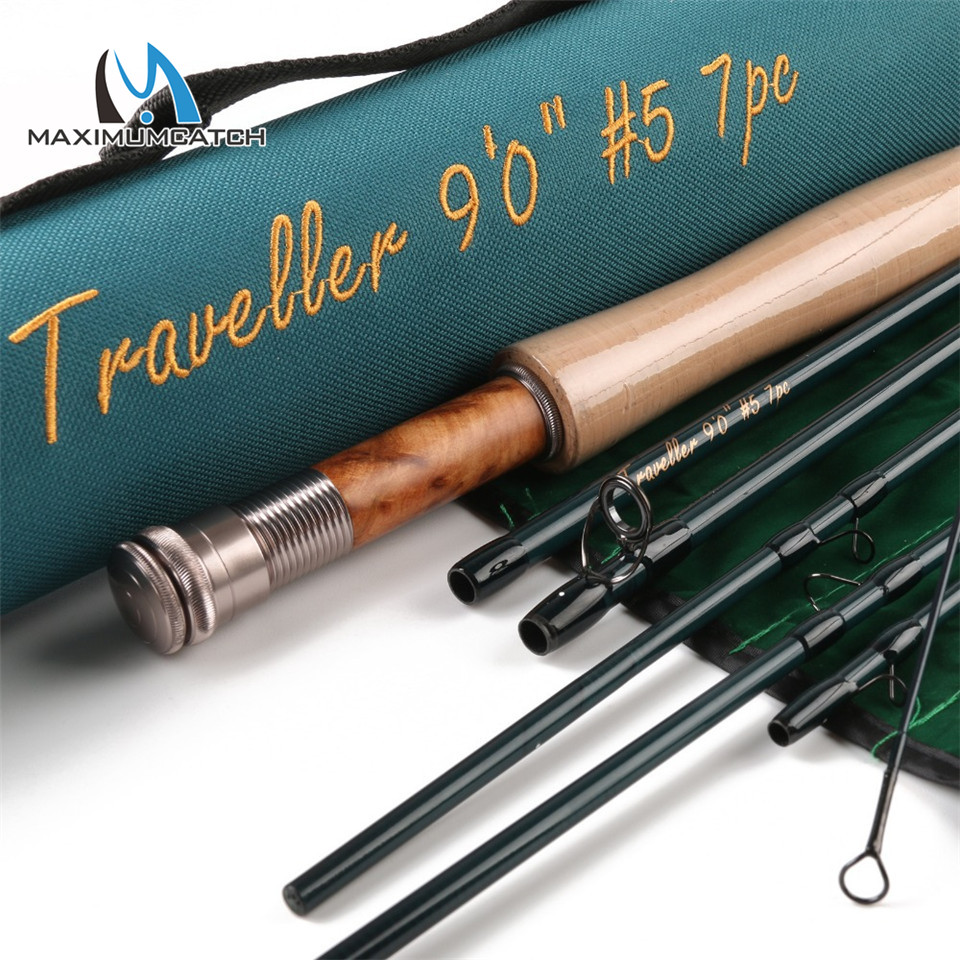 Maximumcatch Travel Fly Fishing Rod 9FT 5WT 7PCS Fast Action Carbon Fiber Traveller Fly Rod