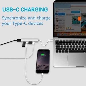 Image 4 - Megoo USB C Laptop Docking Station 6 in 1 Type C to HDMI/USB3.0/PD Charge/SD TF Card Reader for Mac Pro