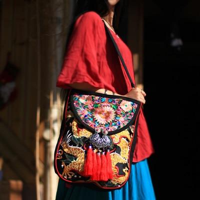 Modello etnico borsa del ricamo di spalla delle donne borse Vintage tasselbags borse di Tela a tracollaModello etnico borsa del ricamo di spalla delle donne borse Vintage tasselbags borse di Tela a tracolla