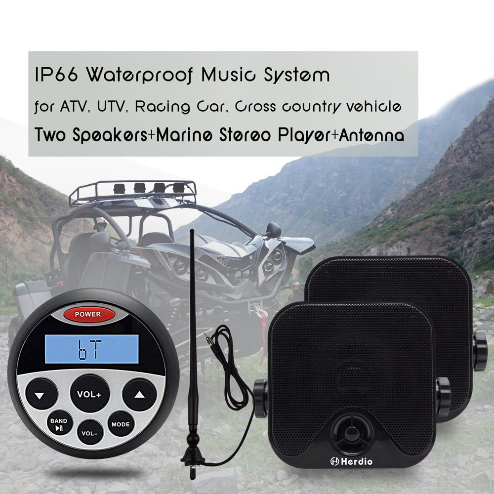 White HMR-806-61W Herdio Waterproof UTV ATV Radio MP3 Audio