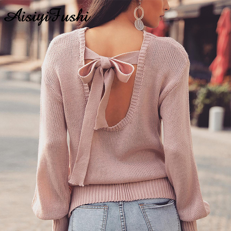 Backless Loose Cut out Sweater Wnter Lace Up Knitted Sweater Women Female Warm Autumn Casual Open Back Knit Sweater Jumper