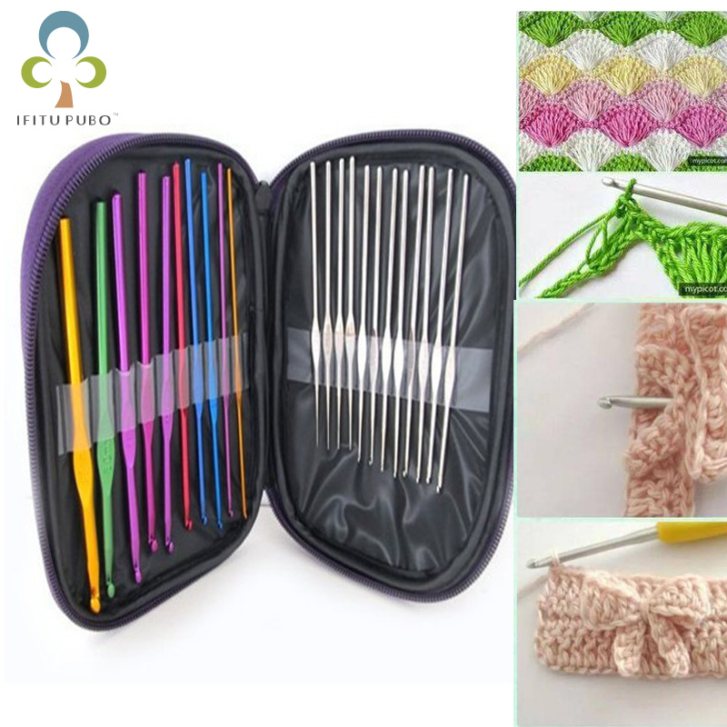 22pcs/set Hand Sewing Needles Knitting Needles Metal Crochet Sweater Needles Suit Stainless Steel Aluminum Crochet Set TDJ